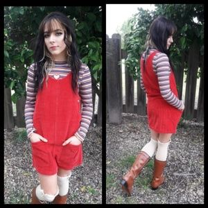 Darling Vtg 90's red corduroy pinafore jumper!
